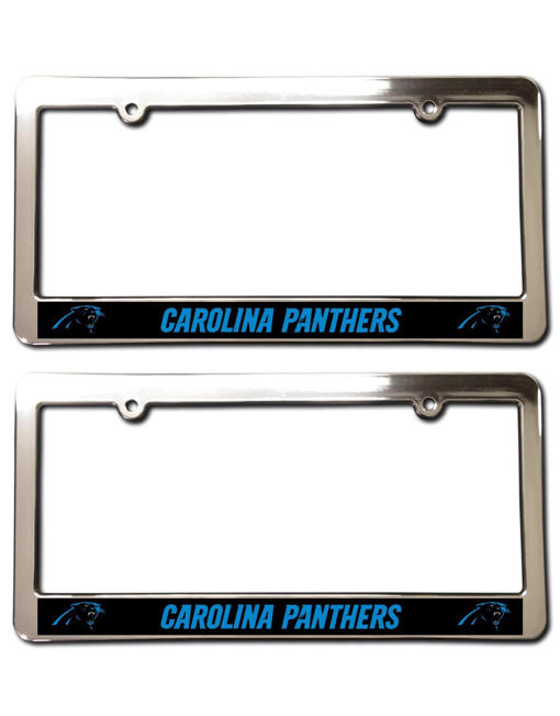 Carolina Panthers License Plate Frames Chrome Faced Set